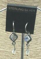 Vintage Sterling Earrings 925 Silver Rainbow Moonstone & Pearl Pierced Drop