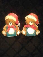 2 Vintage Teddy Bear Christmas Ornaments/magnets