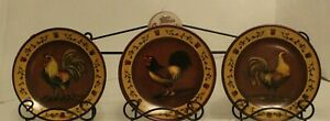 """3pc. 5'' """"Chesapeake Bay, ROOSTER PLATE SET WITH WALL RACK """" 5'' X 16''"""