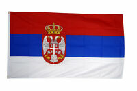 Serbia Flag Large 5 x 3' - Sebian Crest National Country