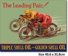 Shell Oil The Leading Pair Motorcycle Racing Tin Sign 2017  Made in USA