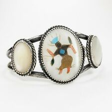 Native American Vintage Zuni Inlay Kachina Dancer Mother of Pearl Cuff Bracelet