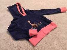 Vintage 80s Navy Blue and Red Fleece Hooded Long Sleeve Top Toddler Age 2