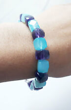 """3D Cube Box Natural Blue Chalcedony With Amethyst Gemstone Bead Bracelet 7"""""""