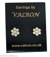 Small Flower Shape White Pearlised Stud Earring with centre Diamante  (pm)
