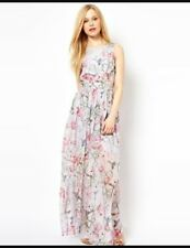 French Connection 100% silk bird & floral print maxi dress, size UK 10