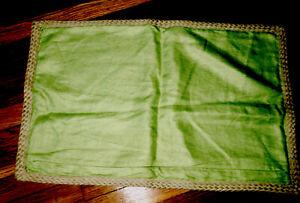 "Pottery Barn Green Linen Jute Braid trim Pillow Cover Sham @ 16"" X 26"""