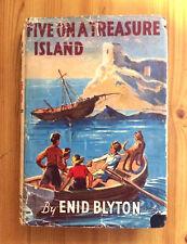 ENID BLYTON FAMOUS FIVE ON A TREASURE ISLAND 1947 WHITE SPINE DUSTWRAPPER RARE