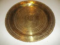 "Vintage Solid Brass Wall Tray Platter 17 3/4"" Elephants Birds Deer Hong Kong"