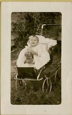 Baby in Carriage Stroller with Weird Doll RPPC Photo Postcard A23