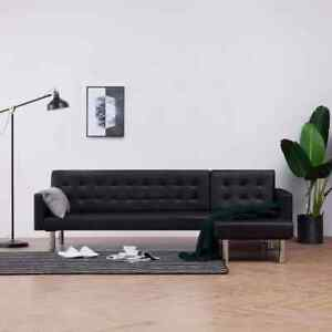 vidaXL Schlafsofa L-Form Schwarz Kunstleder Couch Sofa Ecksofa Schlafcouch