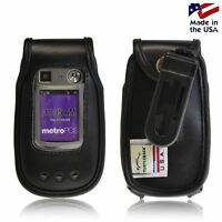 Turtleback Motorola W845 Quantico Black Leather Fitted Phone Case with Belt Clip