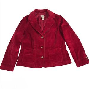 LL Bean Corduroy Button Blazer Jacket Deep Red Womens Petite Size 10