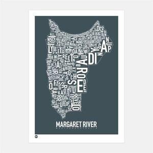 Margaret River Type Map Map Australia Souvenir Gift print