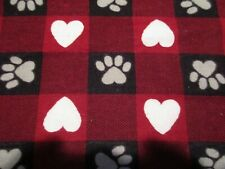 Paws and Hearts Red Buffalo Check Snuggle Cotton Flannel Fabric - Black White Re