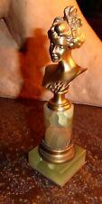 Statuette JUGENDSTIL ART NOUVEAU buste femme bronze onyx Henri Jacobs??