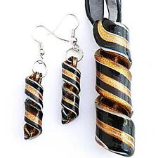 Black Gold Twist Handmade Lampwork Murano Glass Pendant Necklace Earrings Set