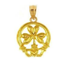 14k Yellow Gold IRISH CLADDAGH Pendant / Charm, Made in USA