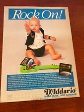 1992 VINTAGE 8X11 PRINT AD FOR D'ADDARIO GUITAR STRINGS BABY WITH TOY GUITAR