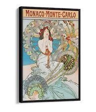 ALPHONSE MUCHA MONACO MONTE CARLO -FLOAT EFFECT CANVAS WALL ART PIC PRINT-ORANGE