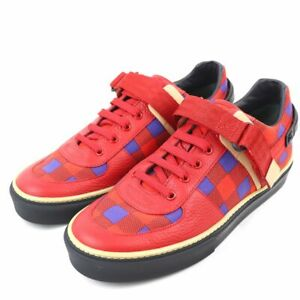 Pre-owned Authentic Louis Vuitton Men's Sneakers Canvas x leather 5 Red x blue