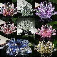 Lotus Crystal Glass Figure Paperweight Ornament Feng Shui Decor Collection