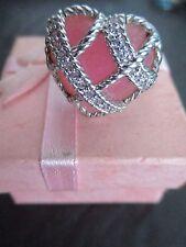 Judith Ripka Sterling Diamonique PINK Quartzite Heart Ring size 8 wGift Box MINT
