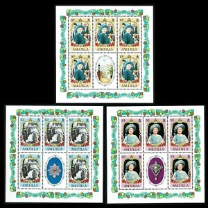 HuskyStamps ~ Anguilla #619-621, mini-sheets, MNH, The Queen Mother, 11 pictures