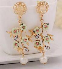 Anthropologie stile barocco verde pallido fiori Perla Goccia Orecchini pendenti nuovi