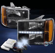 FOR 2007-2013 GMC SIERRA 2500 3500 HD DENALI BLACK LED HEADLIGHT +8000K HID KIT