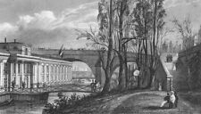 PARIS. Bains Vigier, Pont Royal. Pugin bridge Flag 1828 old antique print