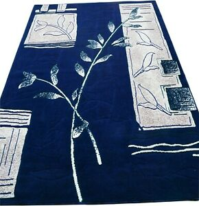 "6x8 Area Rug Navy Blue Floral Carpet Home Decor Floor mat (5'2 x 7'2"")"