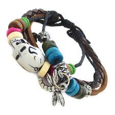 Leather Braided Boho Festival Bead Friendship Bracelet Dragonfly Skull Charm