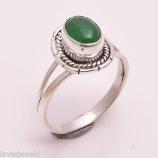 925 Sterling Silver Ring US Size 8, Natural Green Jade Gemstone Jewelry R865