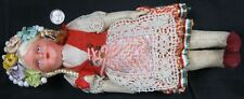 Vintage 1930's Paper-Mache & Hand Made Cloth Hungary Magyar Girl Doll Nice 10�