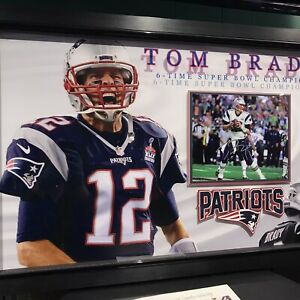 Tom Brady NE Patriots Signed Auto Custom Shadow Box Super Bowl Photo Display JSA