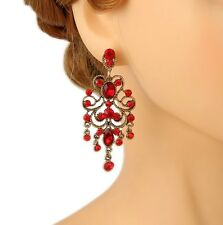 Austrian Crystal Red Chandelier Earrings Bridal Wedding Bridesmaid Party Prom