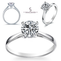 925 Sterling Silver Four Claws Round Solitaire Engagement Wedding Ring - CZ