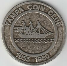 1980 Tampa Coin Club Large & Heavy Cast Pewter Medal Uniface Nice Scarce