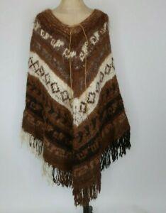 Hand Knit Southwest Aztec Alpaca Wool Poncho