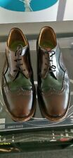 Handmade Oliver Sweeney Brown Green Leather Wingtip Brogues Size 8