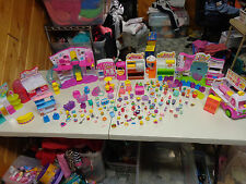 SHOPKINS  MEGA LOT 190 + PIECES BAKERY MAKE UP GROCERY SHOE ICE CREAM TRUCK +++