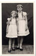 rppc young loving sisters long curly hair flower garland in hair wristwatches