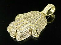 2Ct Round Brilliant Cut Diamond Hamsa Pendant 14K Solid Yellow Gold Finish