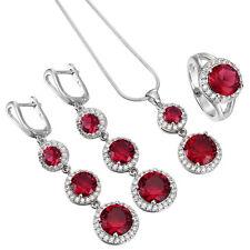 925 Sterling Silver Gemstone Rhinestone Vogue Charming Party Wedding Jewelry Set