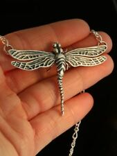 """Nib Stunning Solid Sterling Silver 2 1/2"""" Large Dragonfly Pendent"""
