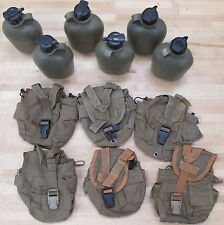 {6} US MILITARY 1 QT CANTEENS : (6) COYOTE BROWN COVERS ~ Used~