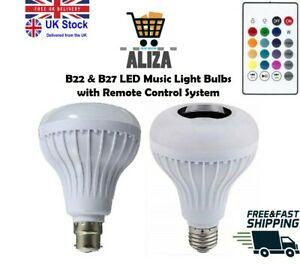 ALIZA B22 E27 RGB Remote Control 12W Wireless Bluetooth Music Light Bulb Speaker