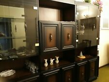 Wall Unit dark Brown with glass doors,3 main pieces and one end, good condition
