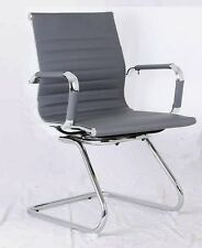 GREY Ribbed Designer Office Reception Conference Chair Faux Leather New